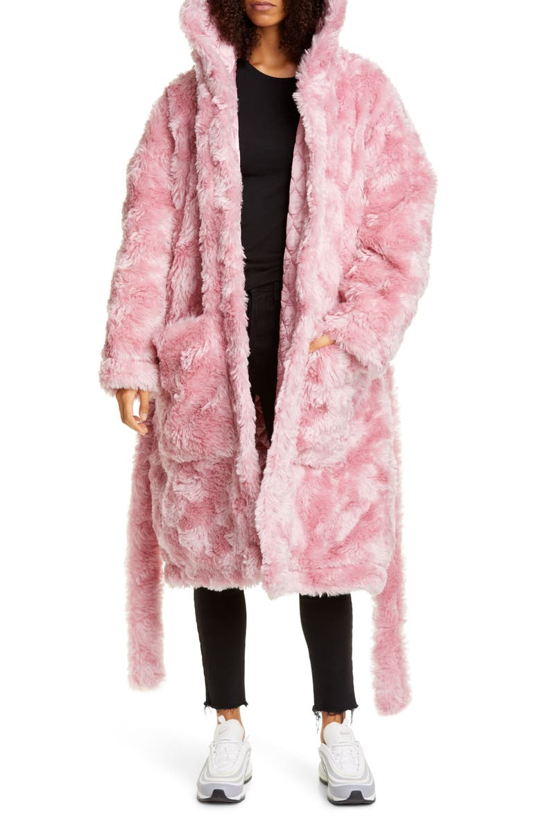 VETEMENTS Anarchy Faux Fur Teddy Coat, Main, color, PINK