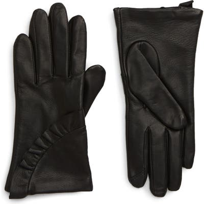 Nordstrom Ruffle Lambskin Leather Touchscreen Compatible Gloves, Black