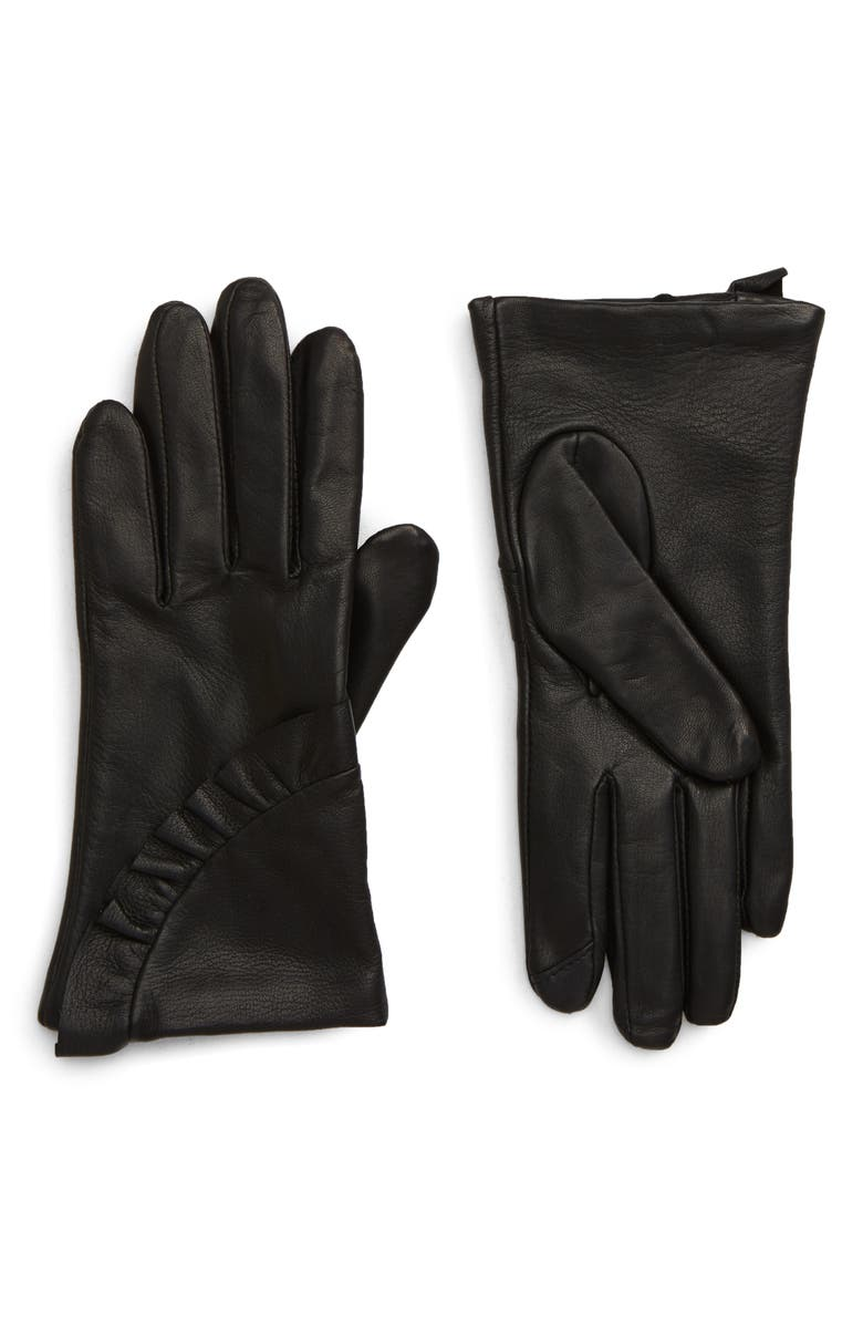 NORDSTROM Ruffle Lambskin Leather Touchscreen Compatible Gloves, Main, color, BLACK