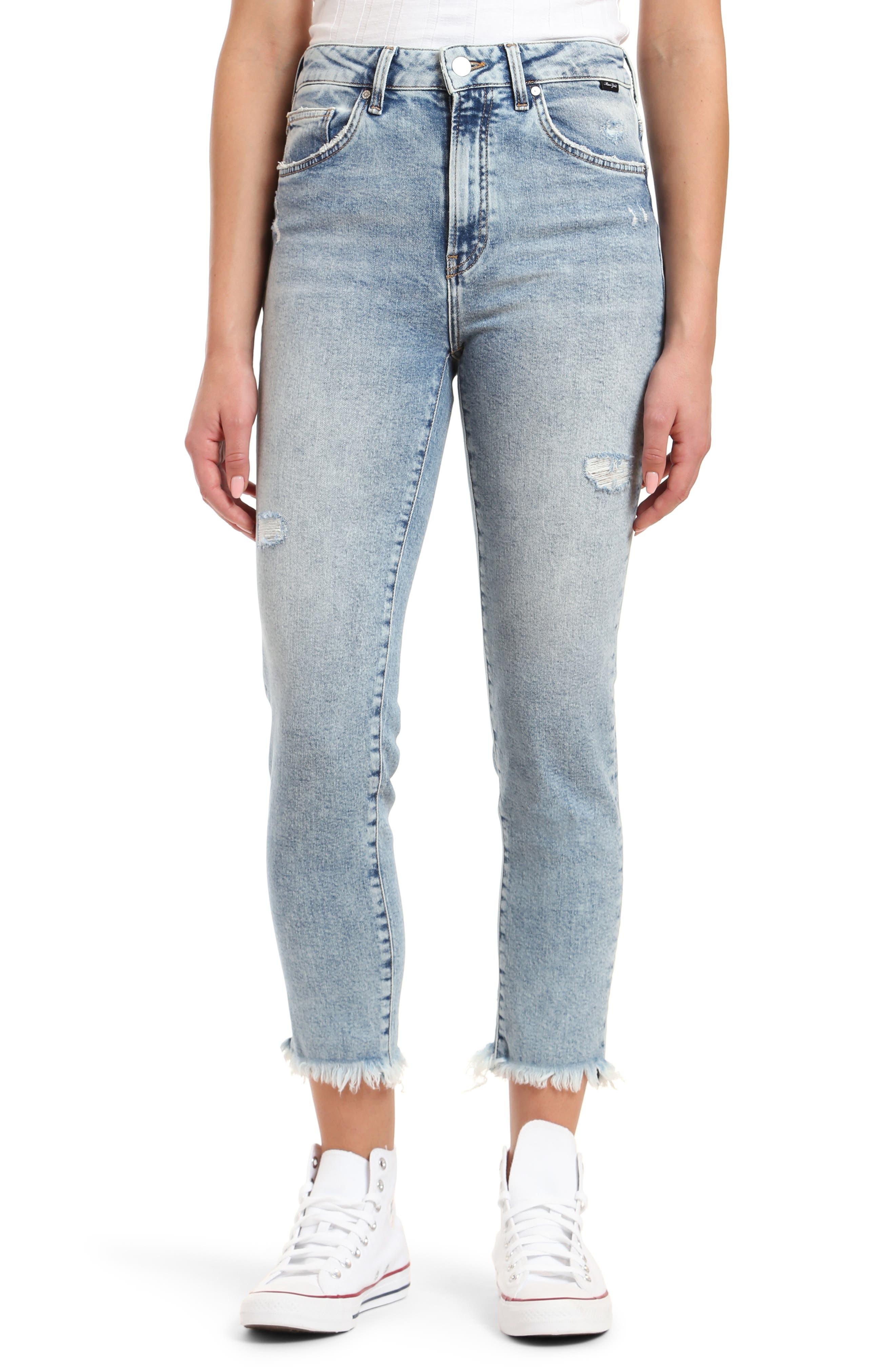 Star High Waist Distressed Fray Hem Straight Leg Jeans