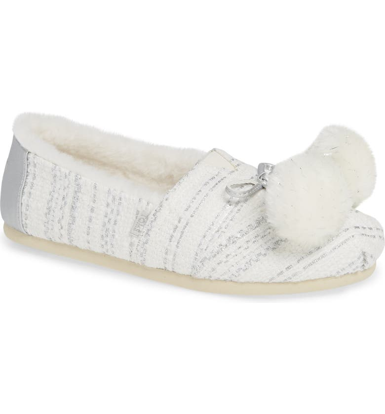 TOMS Alpargata Slip-On with Faux Fur Lining & Pompoms, Main, color, SILVER FABRIC