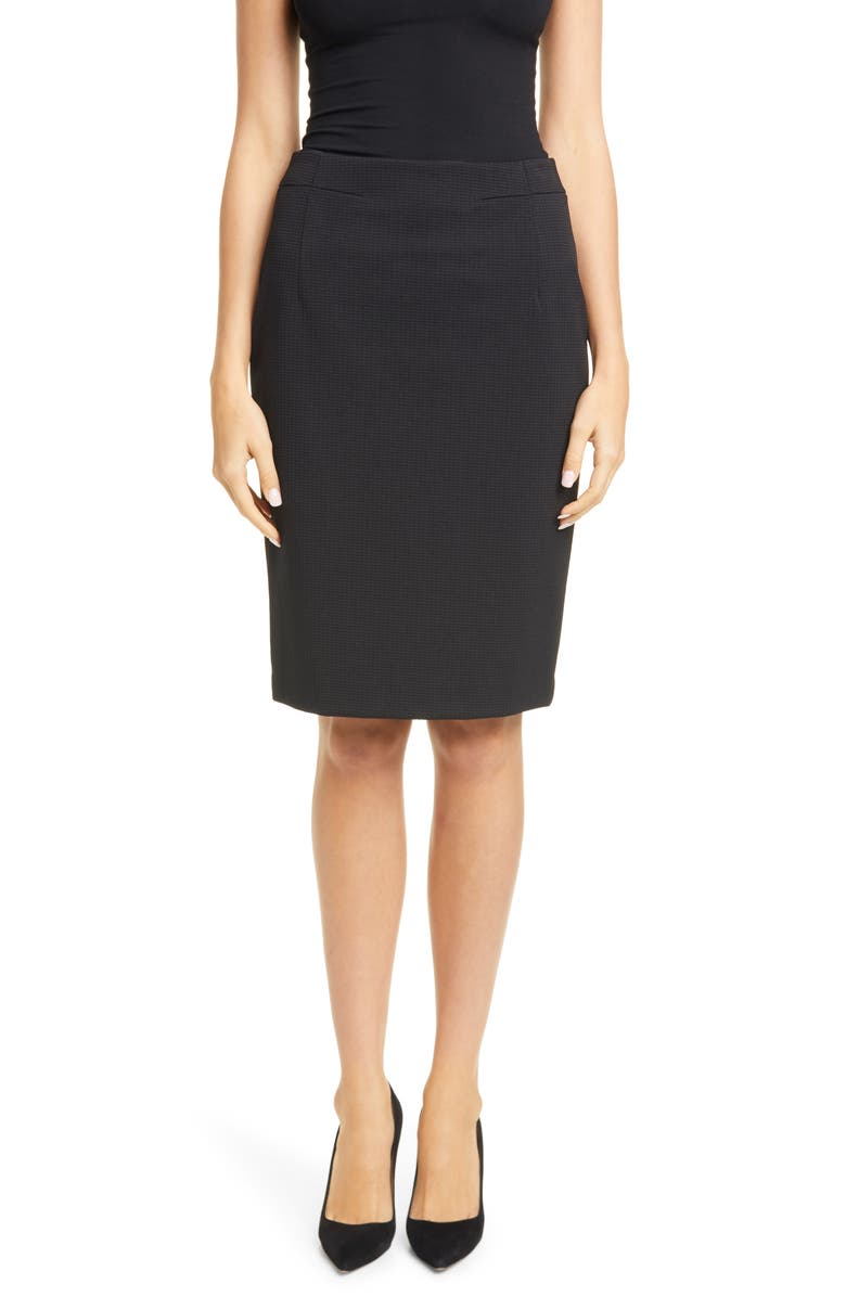 BOSS Vaxine Textured Pencil Skirt, Main, color, BLACK