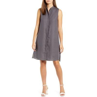 Anne Klein Trapeze Linen Shirtdress, Grey