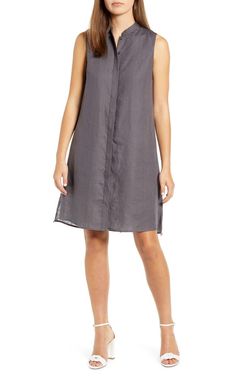 ANNE KLEIN Trapeze Linen Shirtdress, Main, color, NANTUCKET GREY