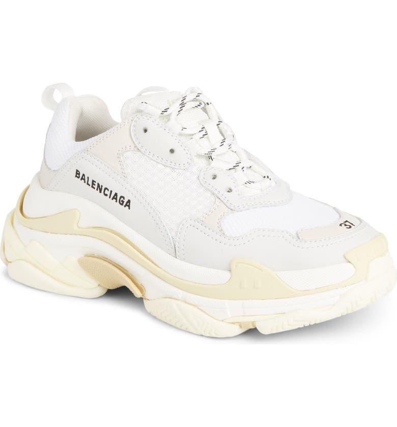 BALENCIAGA Triple S Low Top Sneaker, Main, color, WHITE/ CREAM