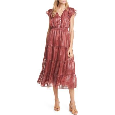 Dolan Sawyer Metallic Silk Midi Dress, Red
