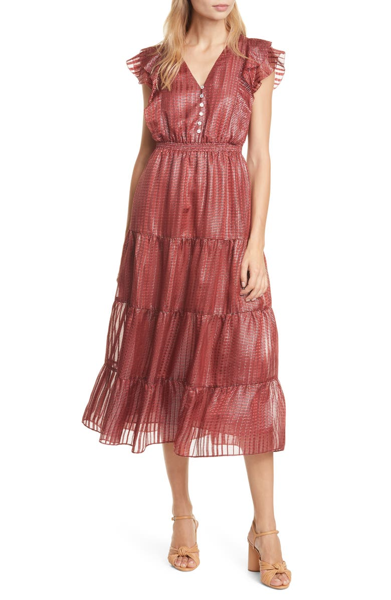 DOLAN Sawyer Metallic Silk Midi Dress, Main, color, SPICED RED