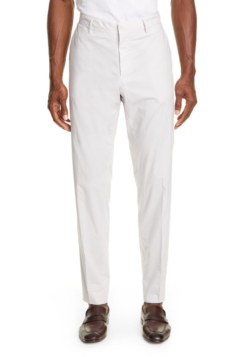 ERMENEGILDO ZEGNA Flat Front Solid Stretch Cotton Dress Pants, Main, color, 132