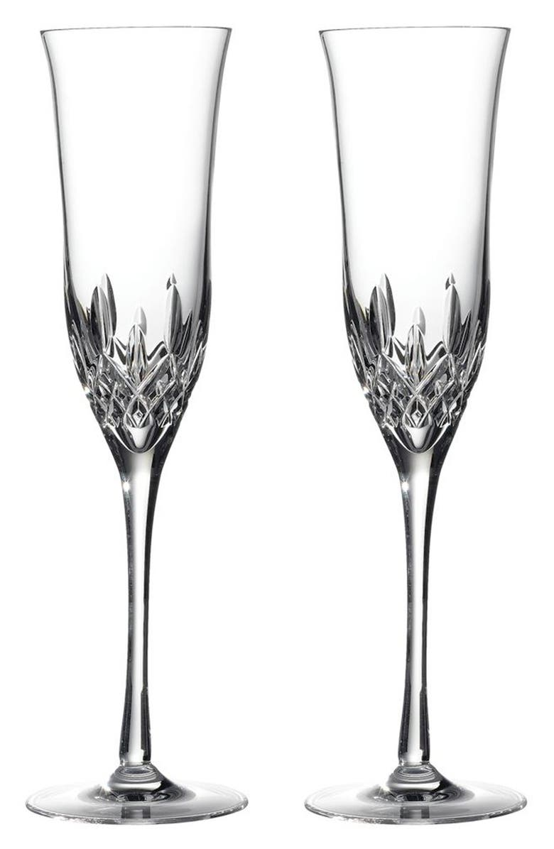 WATERFORD 'Lismore Essence' Lead Crystal Champagne Flutes, Main, color, CLEAR