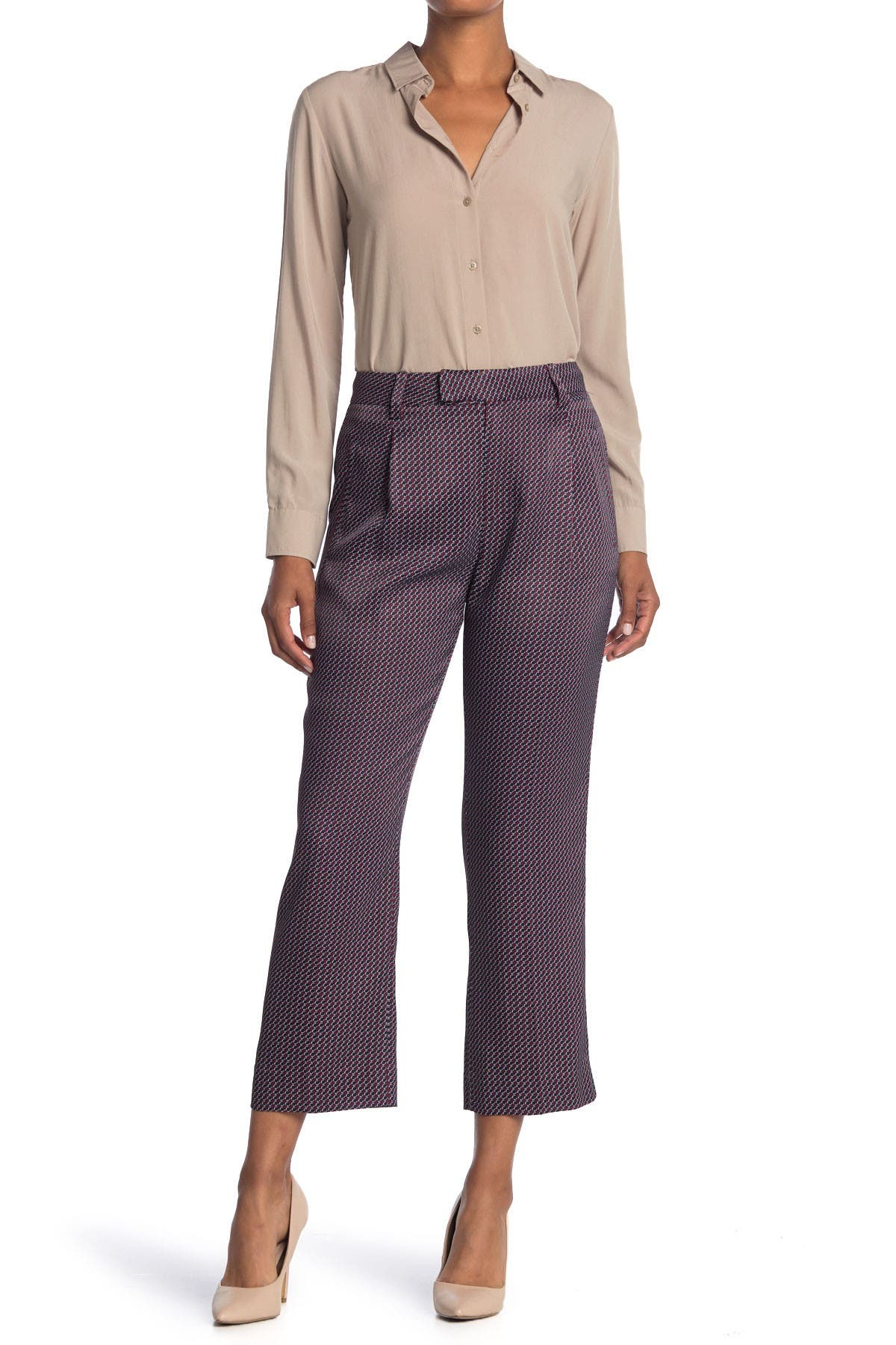 Image of Equipment Bergen Geo Cropped Wide Leg Trousers