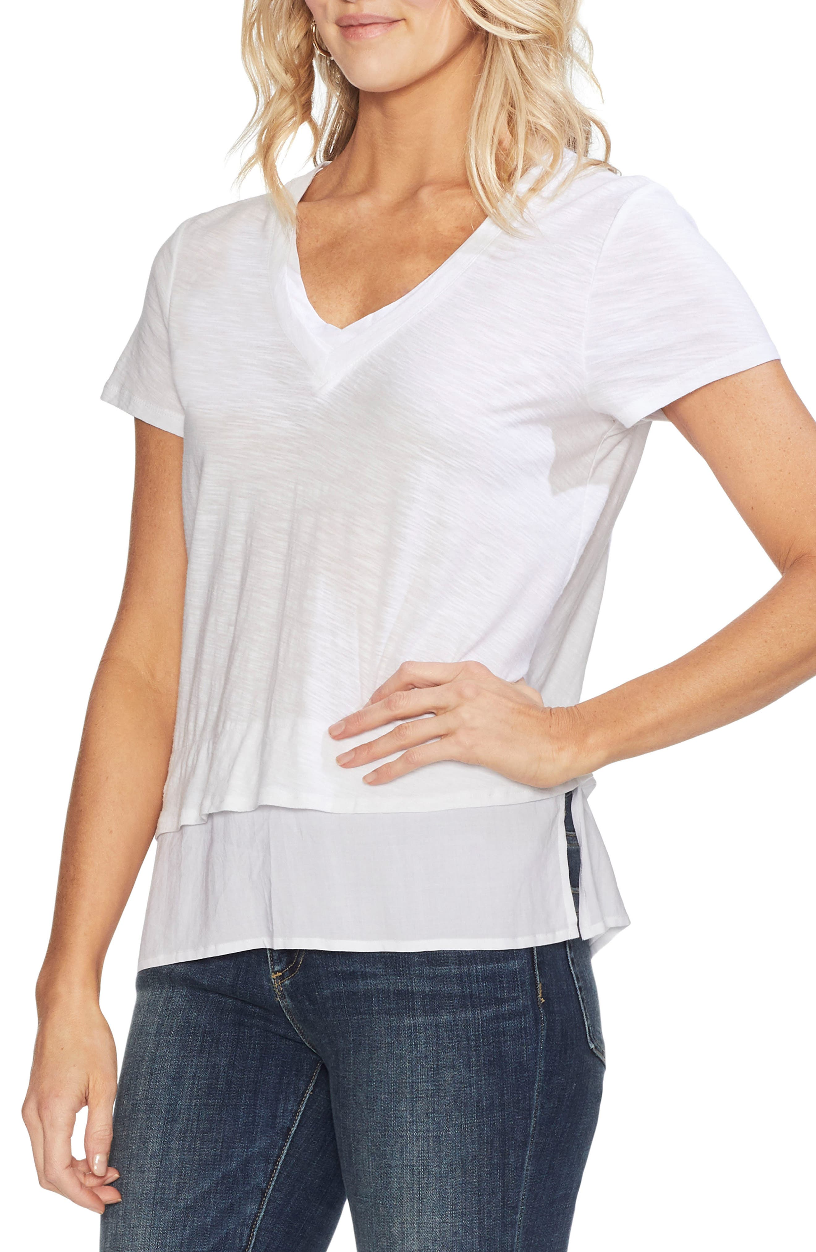 a20141da Petite Vince Camuto Layered Look V-Neck Tee, White