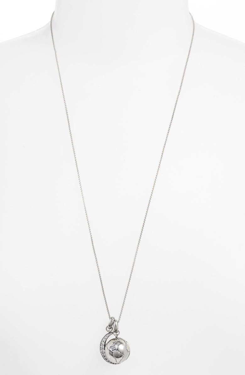 KENDRA SCOTT To the Moon & Back Locket Slide Necklace, Main, color, VINTAGE SILVER/ WHITE CZ
