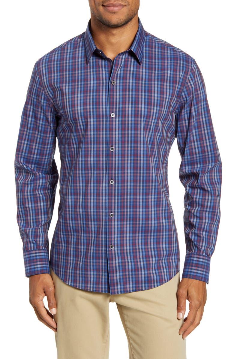 ZACHARY PRELL Yacubi Regular Fit Plaid Button-Up Shirt, Main, color, NAVY