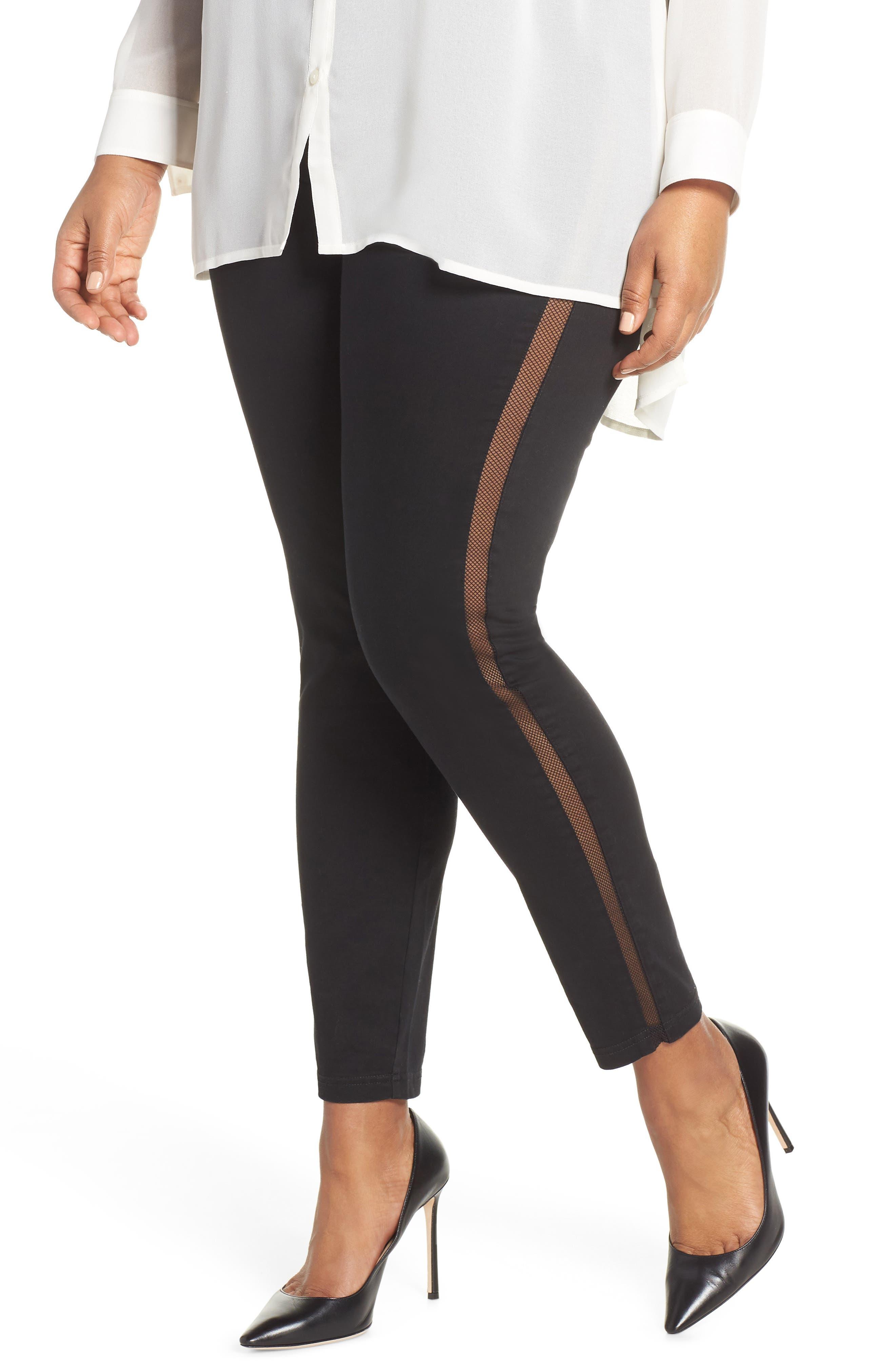 Plus Size Hue High Waist Mesh Tuxedo Stripe Denim Leggings