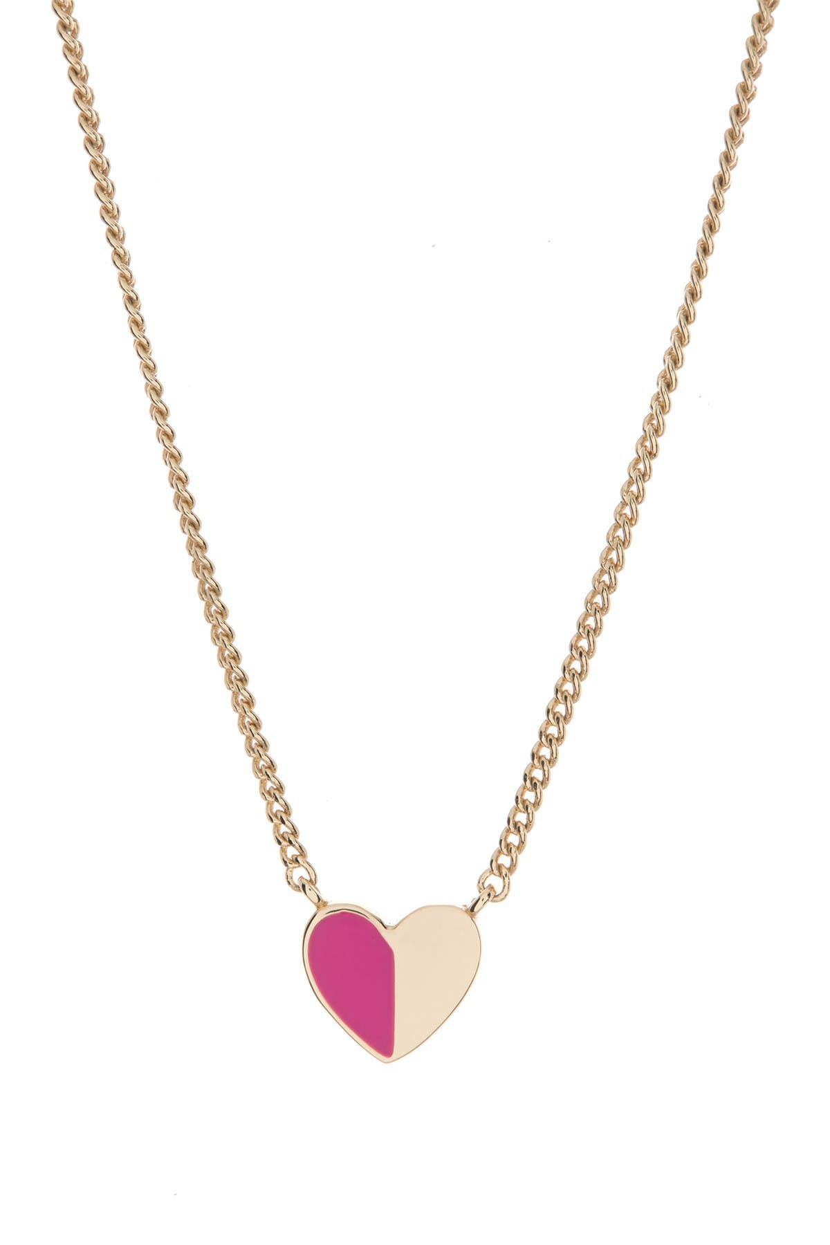 Image of DKNY Two-Tone Heart Pendant Necklace