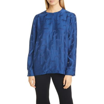 Stella Mccartney Jacquard Horse Split Long Sleeve Blouse, US / 44 IT - Blue
