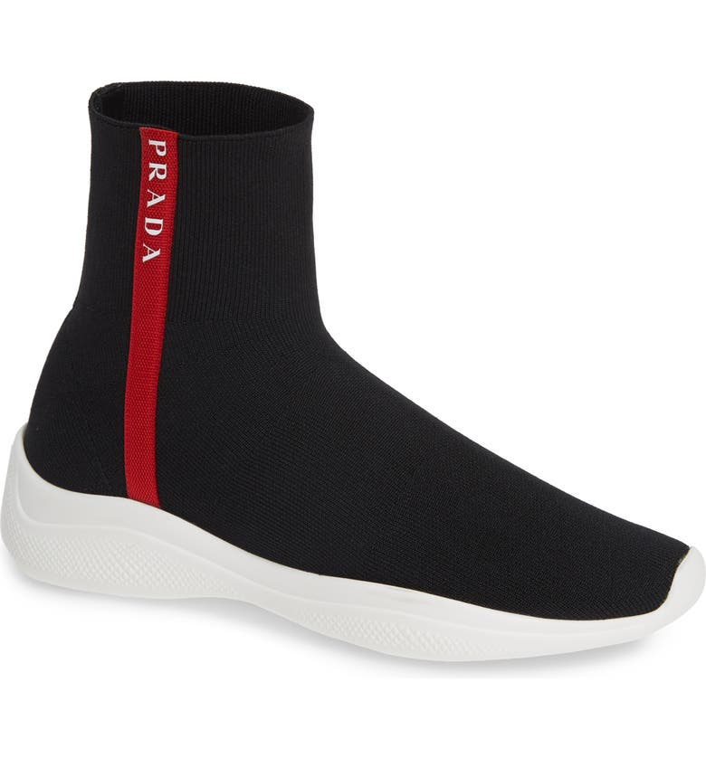 PRADA Logo Band Sock Sneaker, Main, color, 001