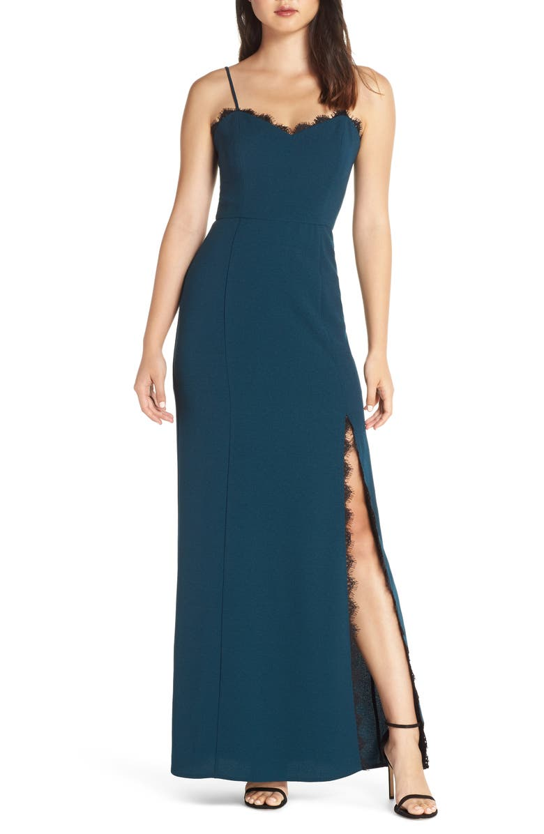 WAYF The Mia Lace Trim Front Slit Gown, Main, color, 485