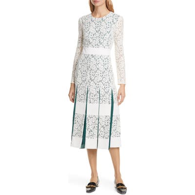 Tory Burch Long Sleeve Pleated Lace Midi Dress, Ivory