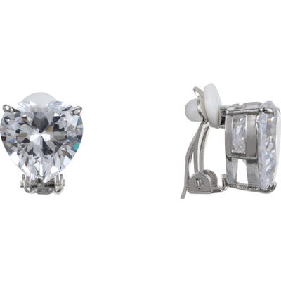 Nina Heart Cubic Zirconia Clip-On Earrings