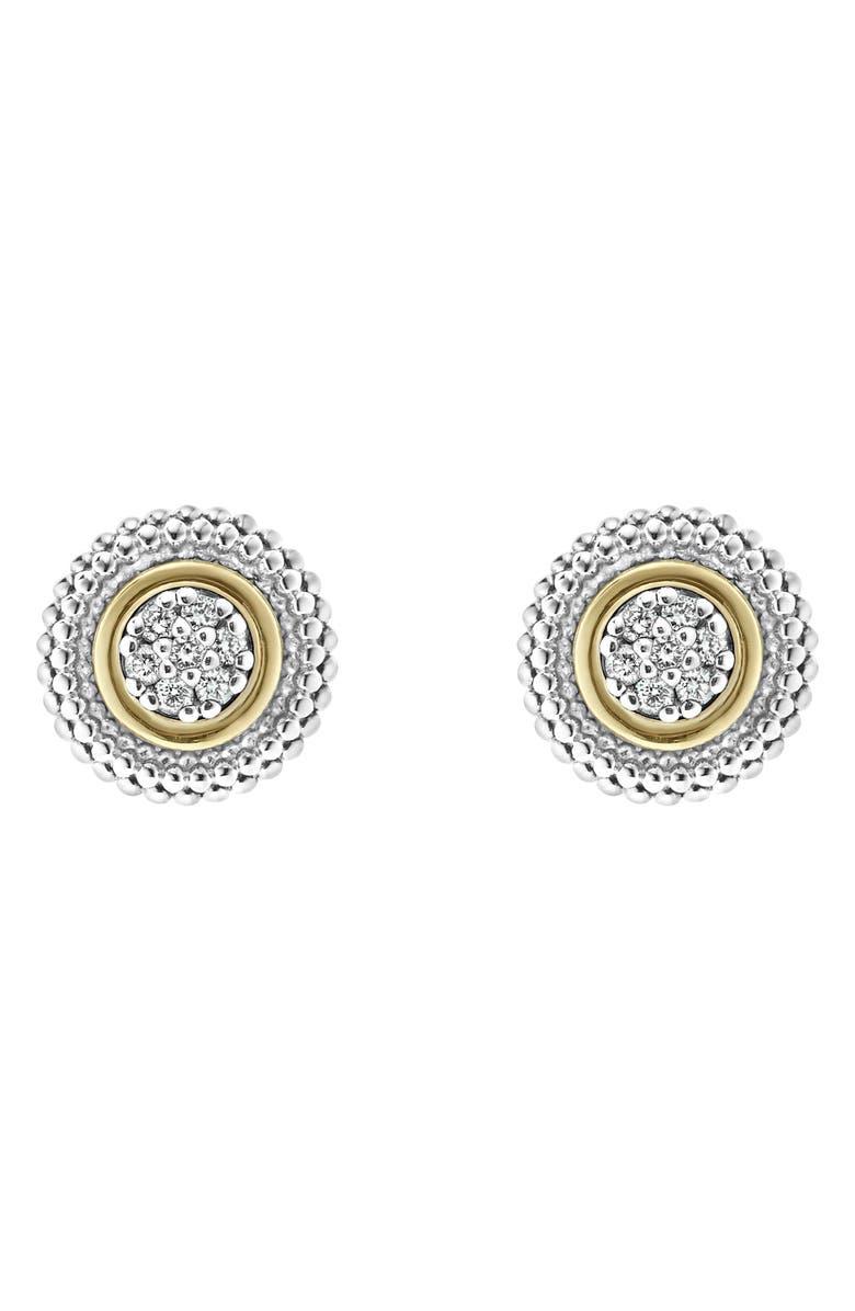 LAGOS Caviar Diamond Stud Earrings, Main, color, DIAMOND