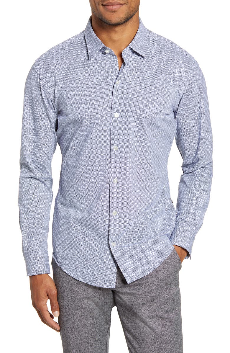 BOSS Robbie Sharp Fit Button-Up Stretch Nylon Shirt, Main, color, DARK BLUE