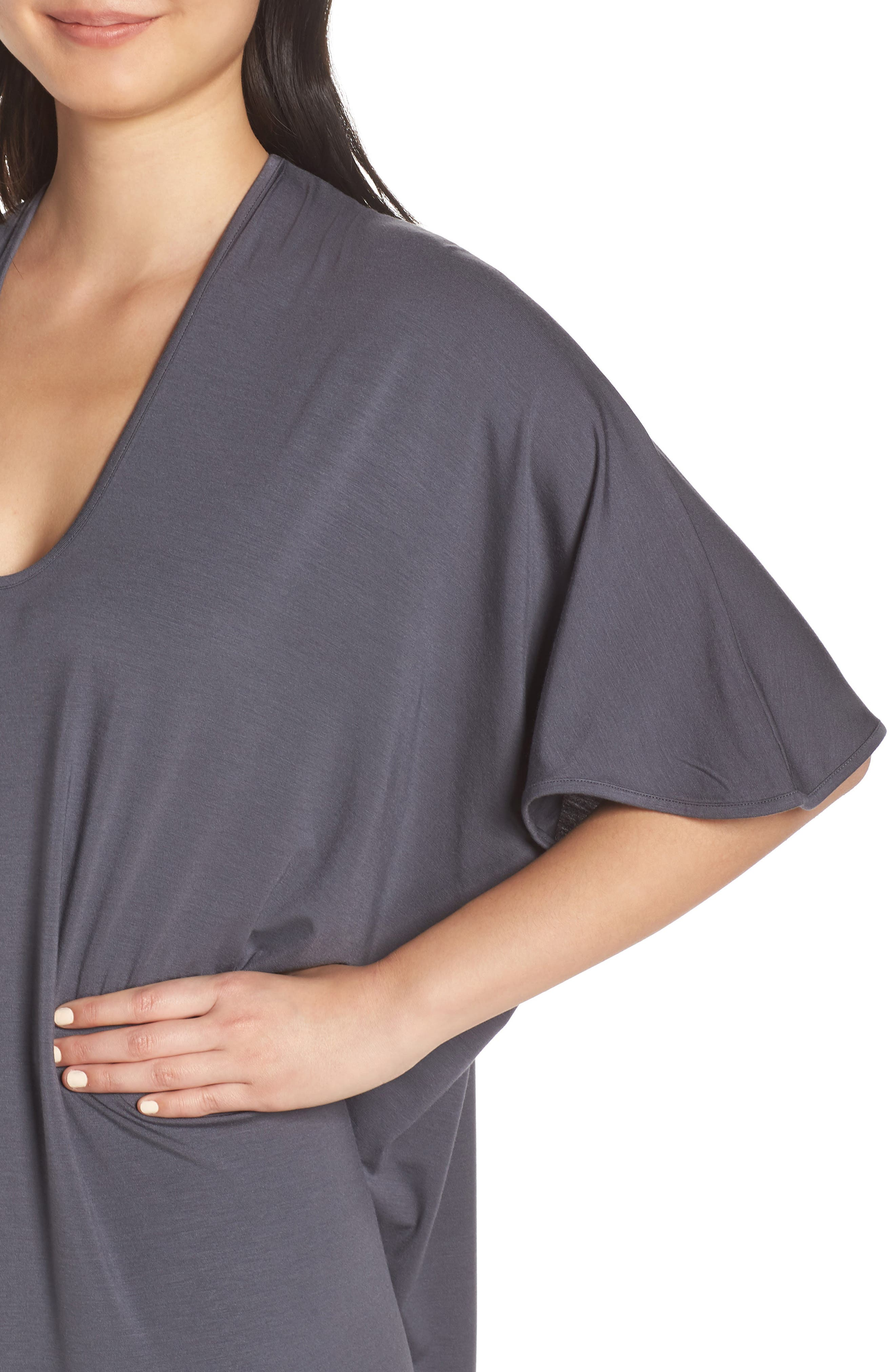 ,                             Luxe Jersey Nightgown,                             Alternate thumbnail 4, color,                             GRAPHITE