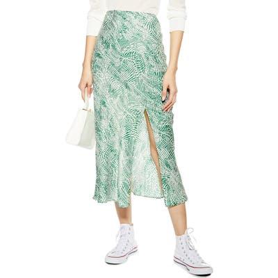 Petite Topshop Print Midi Skirt, P US (fits like 2-4P) - Green