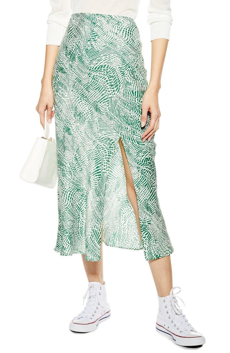 TOPSHOP Print Midi Skirt, Main, color, GREEN MULTI