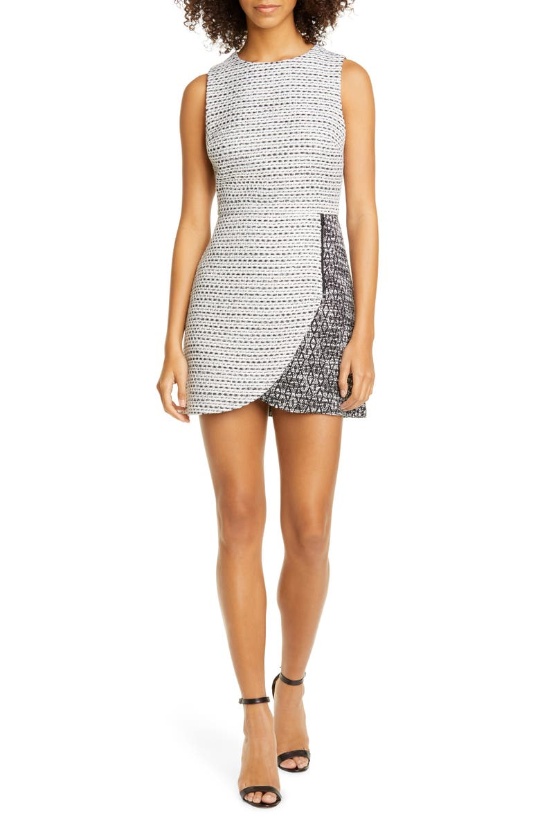 ALICE + OLIVIA Sally Zip Detail Minidress, Main, color, WHITE/ BLACK
