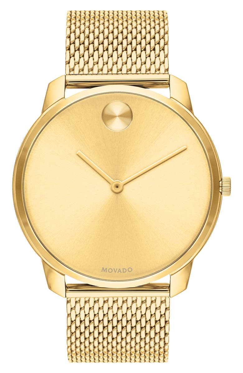 MOVADO Bold Mesh Bracelet Watch, 42mm, Main, color, GOLD