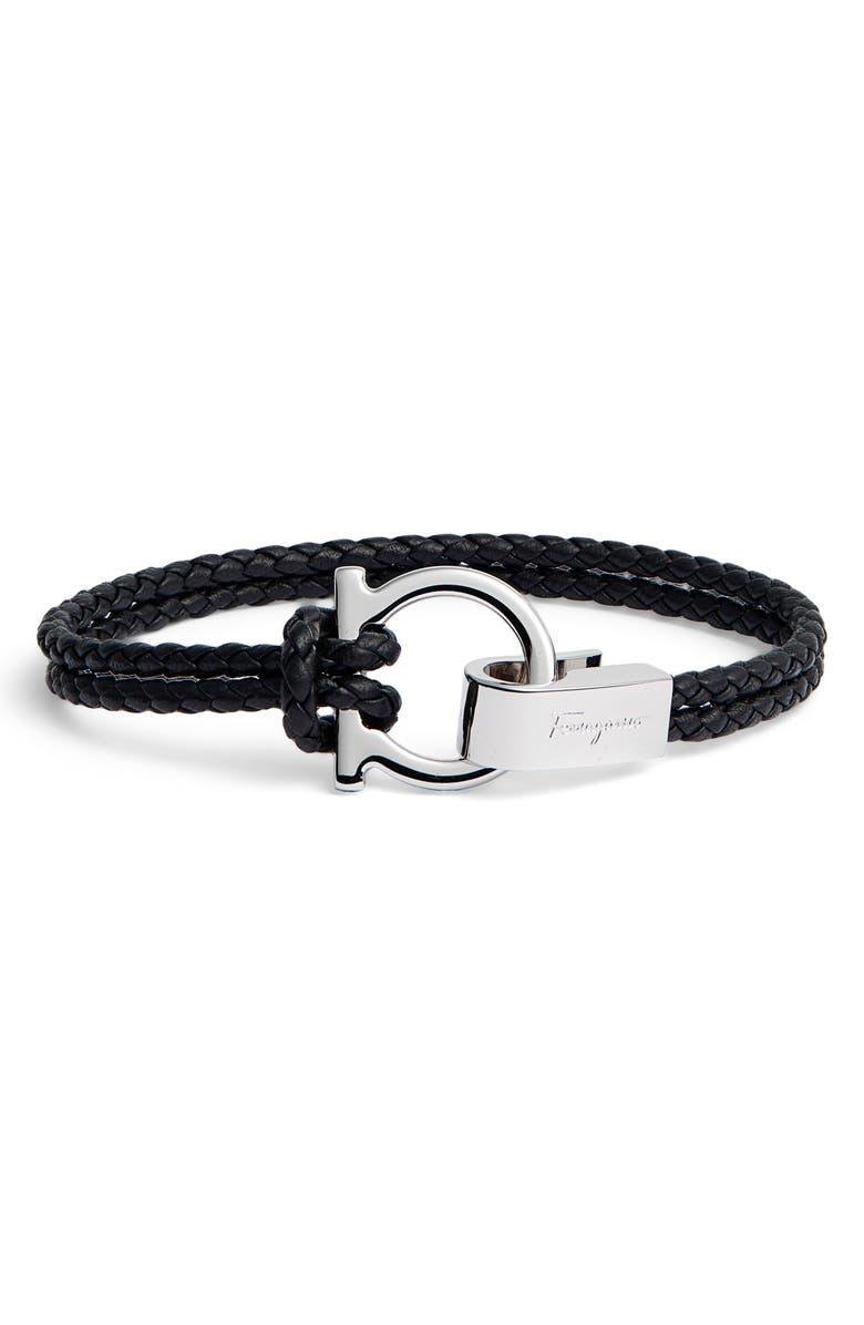 SALVATORE FERRAGAMO Braided Leather Bracelet, Main, color, 008 - BLACK