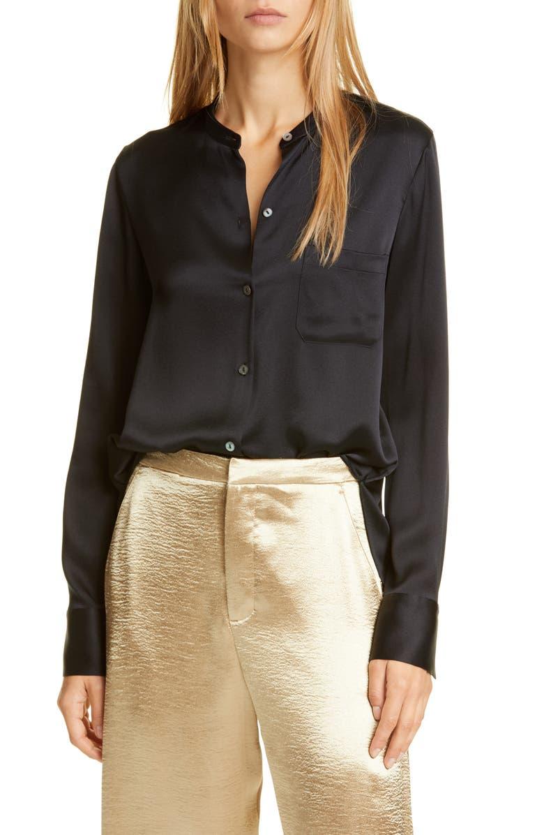 VINCE Slim Fit Band Collar Silk Blouse, Main, color, BLACK