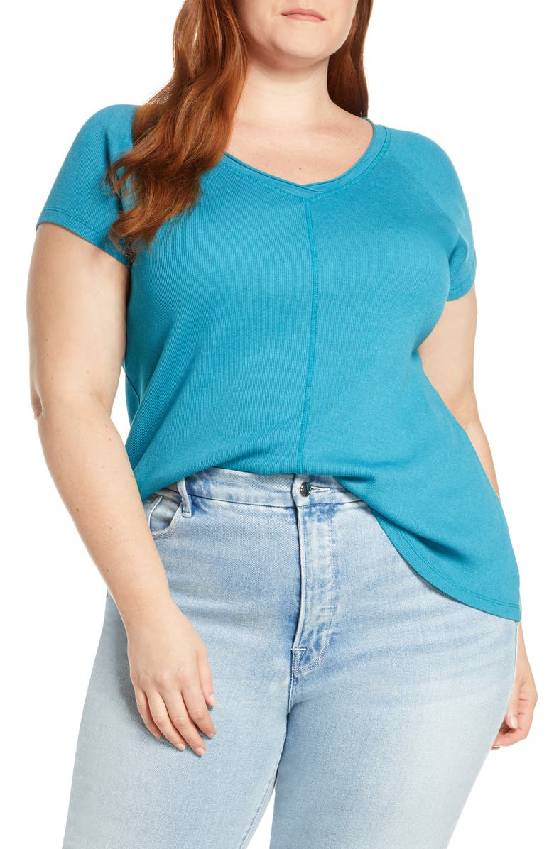 CASLON<SUP>®</SUP> Double V-Neck Ribbed Tee, Main, color, TEAL CRYSTAL