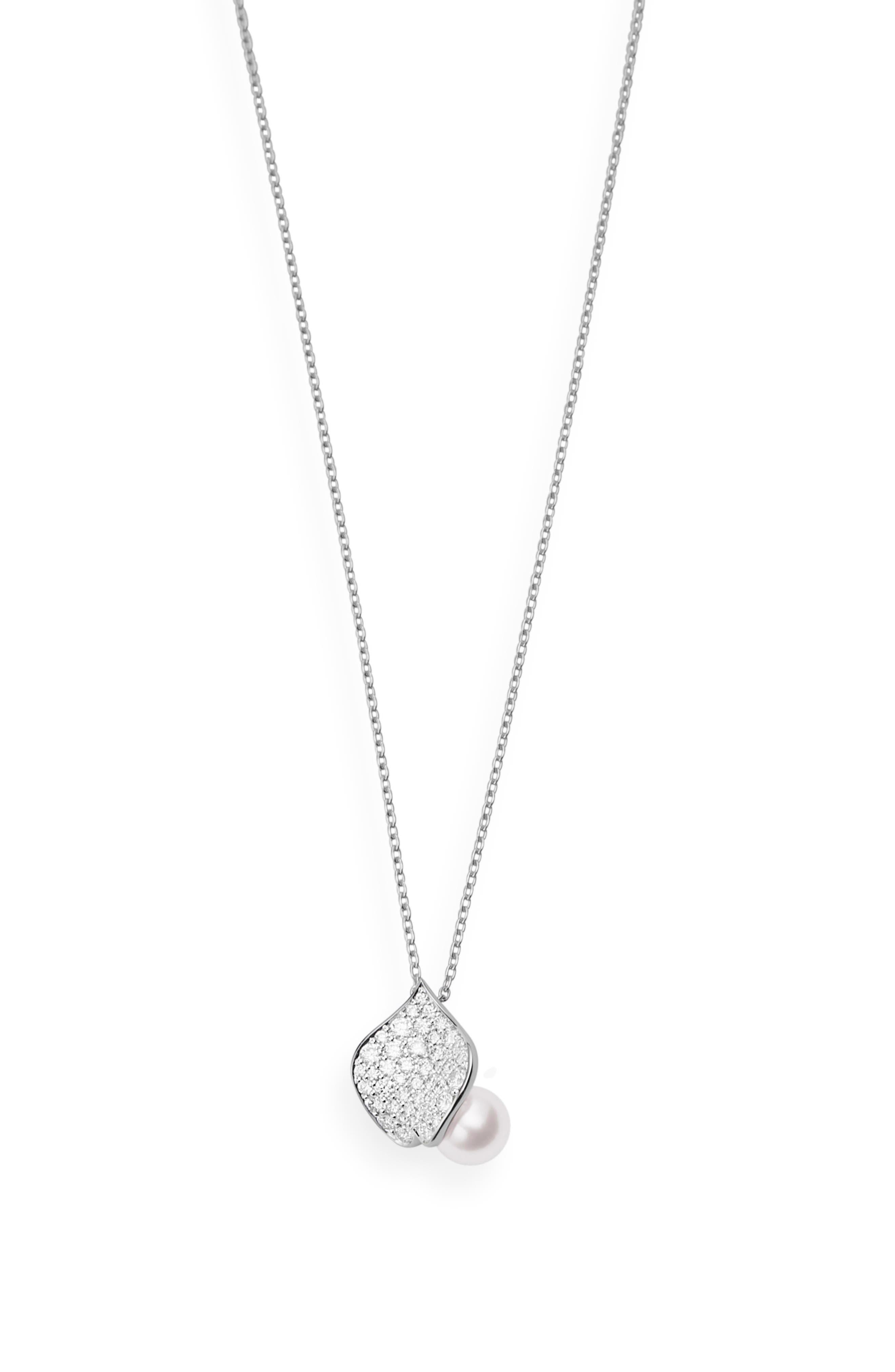 Diamond & Pearl Petal Pendant Necklace