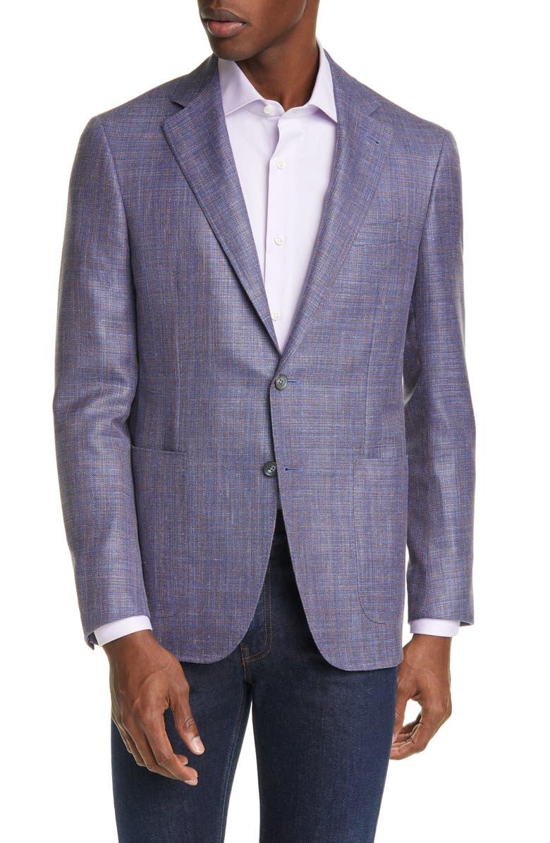 CANALI Classic Fit Mélange Wool & Silk Blend Sport Coat, Main, color, BLUE