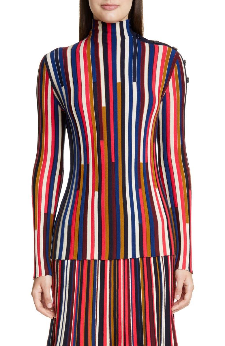 ST. JOHN COLLECTION Multicolor Fine Gauge Wool Turtleneck, Main, color, SCARLET MULTI