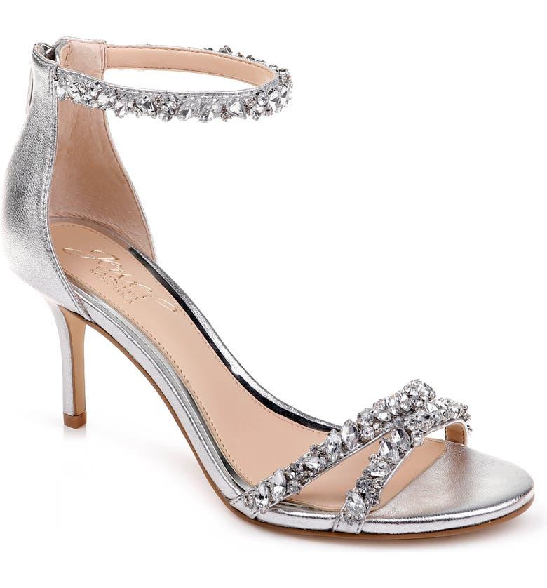 JEWEL BADGLEY MISCHKA Darlene Embellished Ankle Strap Sandal, Main, color, SILVER LEATHER