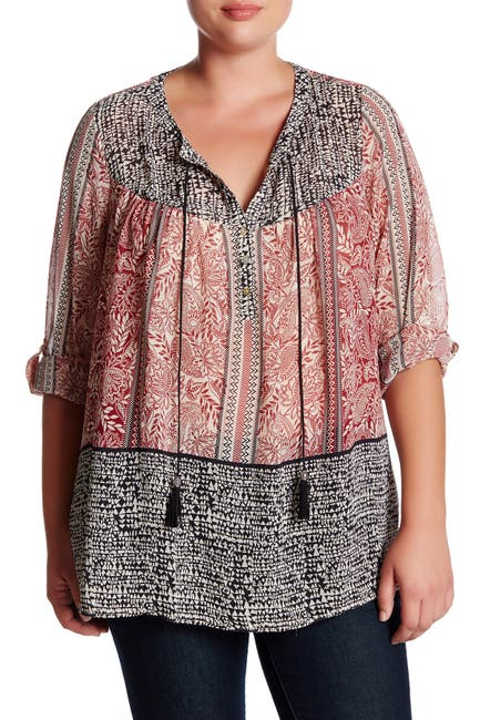 Image of DR2 by Daniel Rainn Roll Sleeve Border Print Blouse