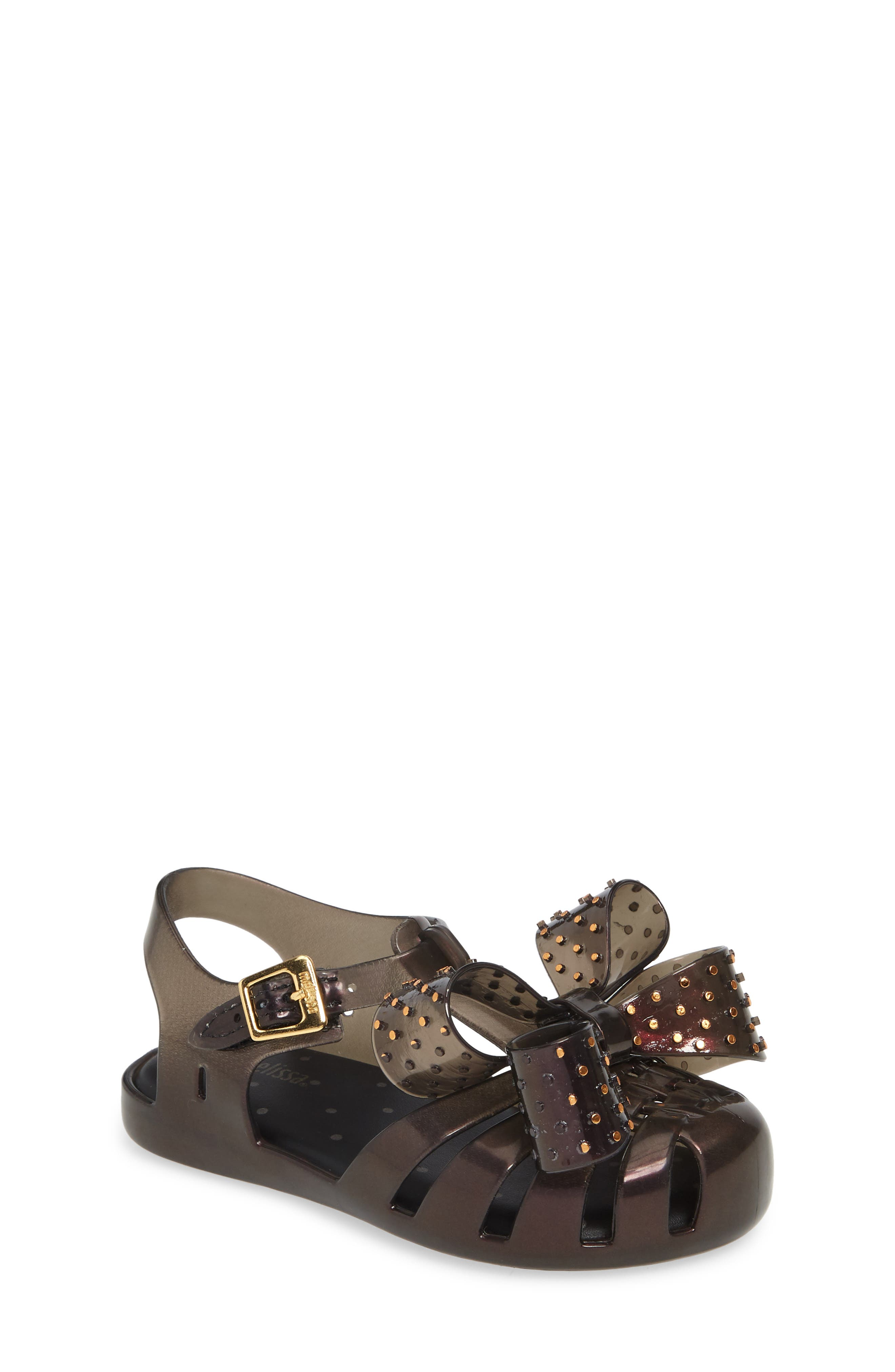 ,                             Aranha XIII Bow T-Strap Sandal,                             Main thumbnail 1, color,                             BLACK IRIDESCENT