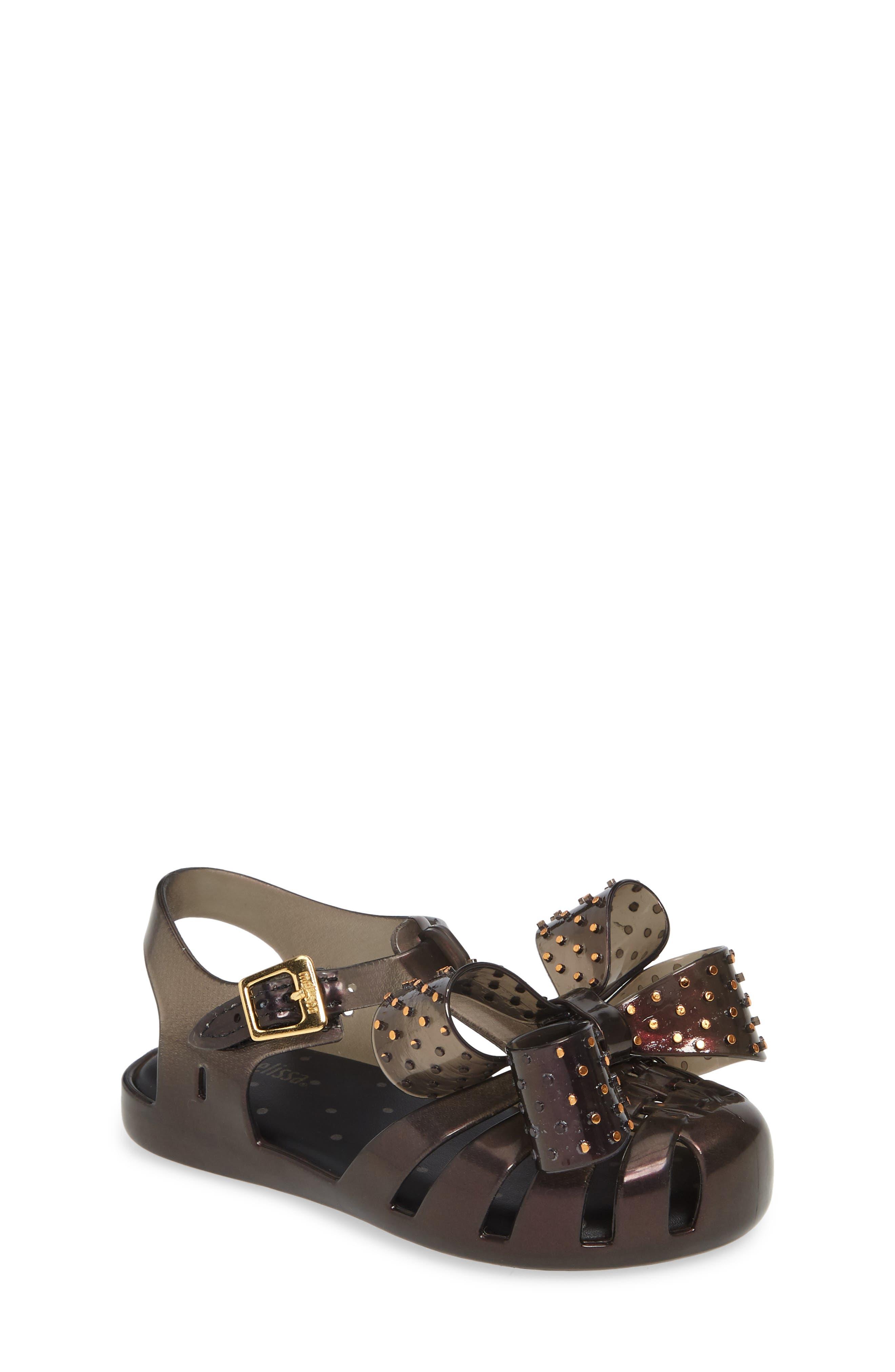 Aranha XIII Bow T-Strap Sandal, Main, color, BLACK IRIDESCENT