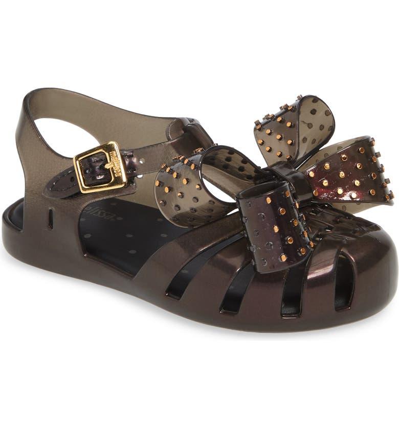 MINI MELISSA Aranha XIII Bow T-Strap Sandal, Main, color, BLACK IRIDESCENT