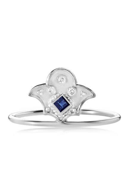 Image of LEGEND AMRAPALI SILVER Sterling Silver Heritage Amulet Blue Sapphire & Diamond Ring
