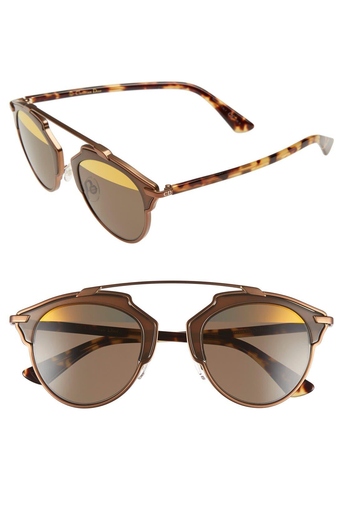 ,                             So Real 48mm Brow Bar Sunglasses,                             Main thumbnail 72, color,                             712