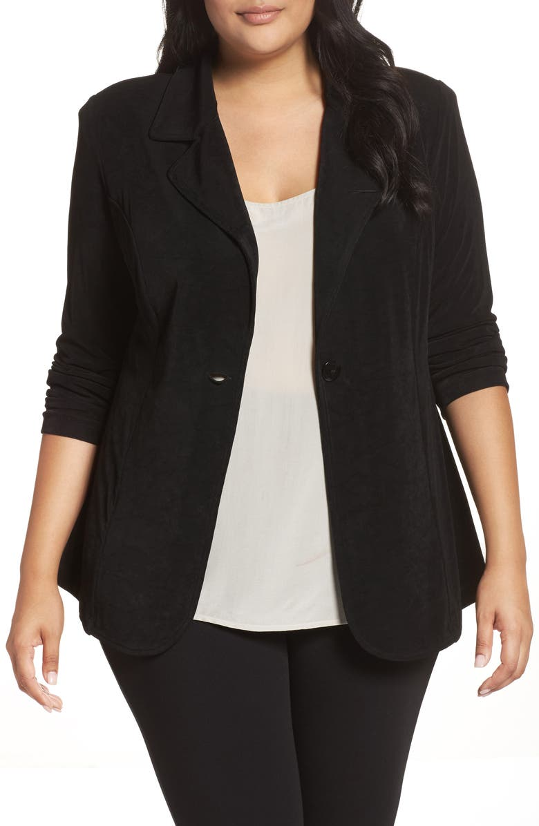 VIKKI VI One-Button Stretch Knit Blazer, Main, color, BLACK
