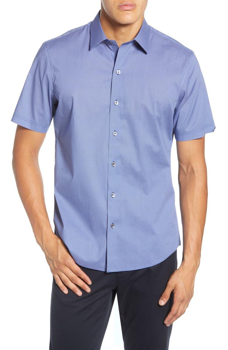 ZACHARY PRELL Ertz Regular Fit Short Sleeve Stretch Button-Up Sport Shirt, Main, color, BLUE