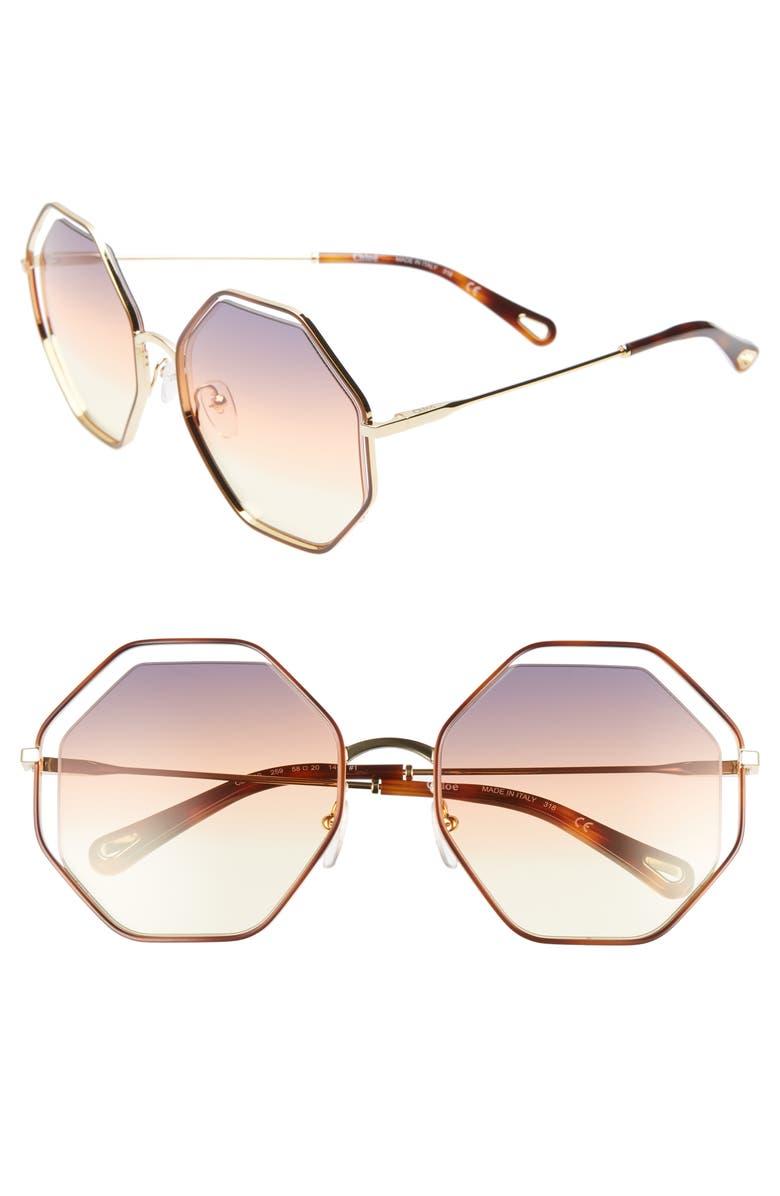 CHLOÉ 58mm Octagonal Halo Lens Sunglasses, Main, color, 200