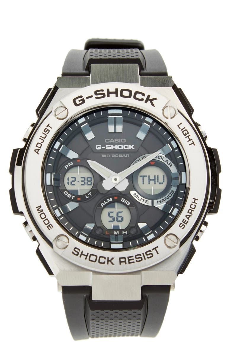G-SHOCK BABY-G G-Shock 'G-Steel' Ana-Digi Resin Strap Watch, 59mm x 52mm, Main, color, 001