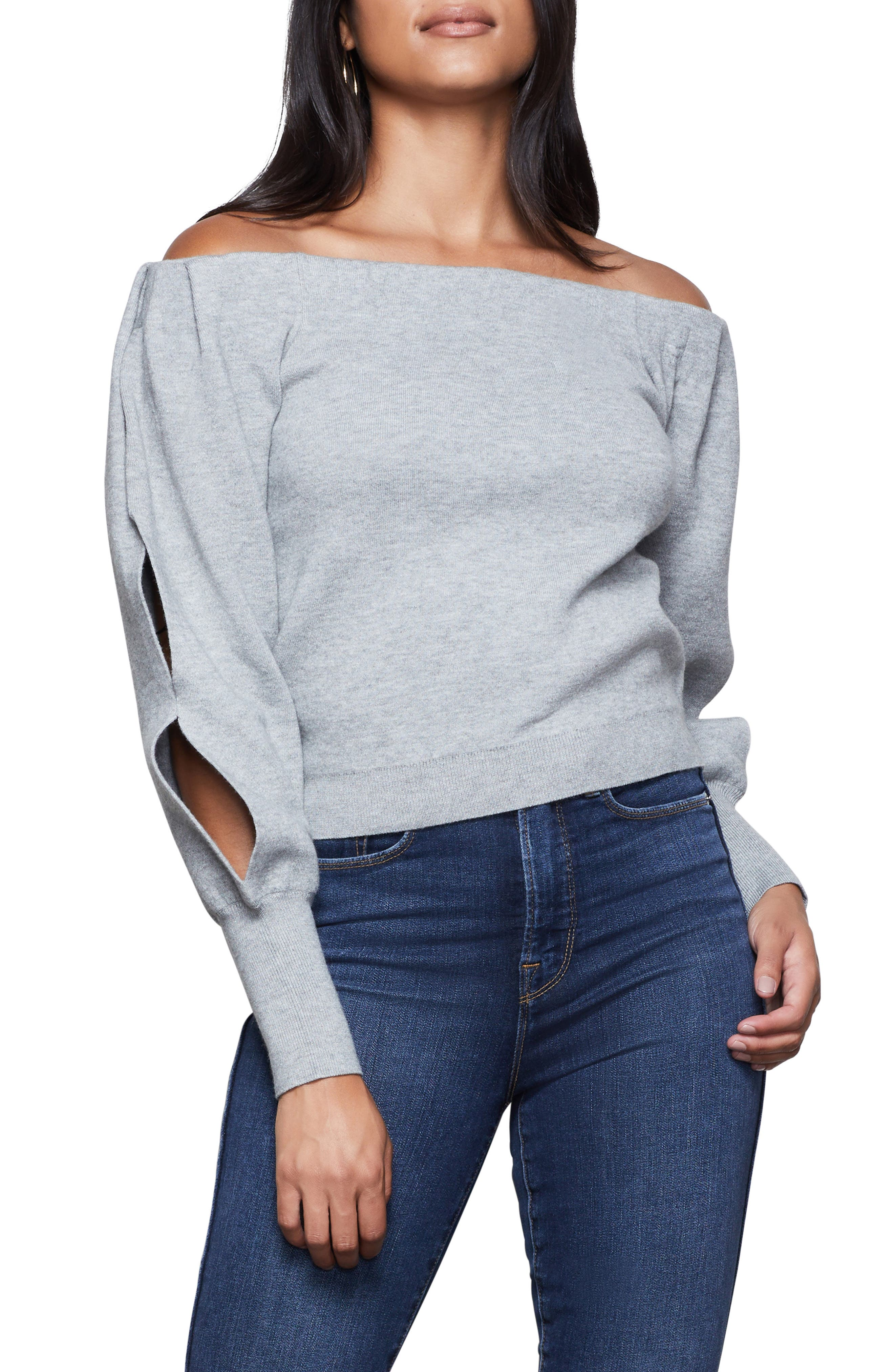 Image of Good American Off the Shoulder Sweater with Slit Sleeves