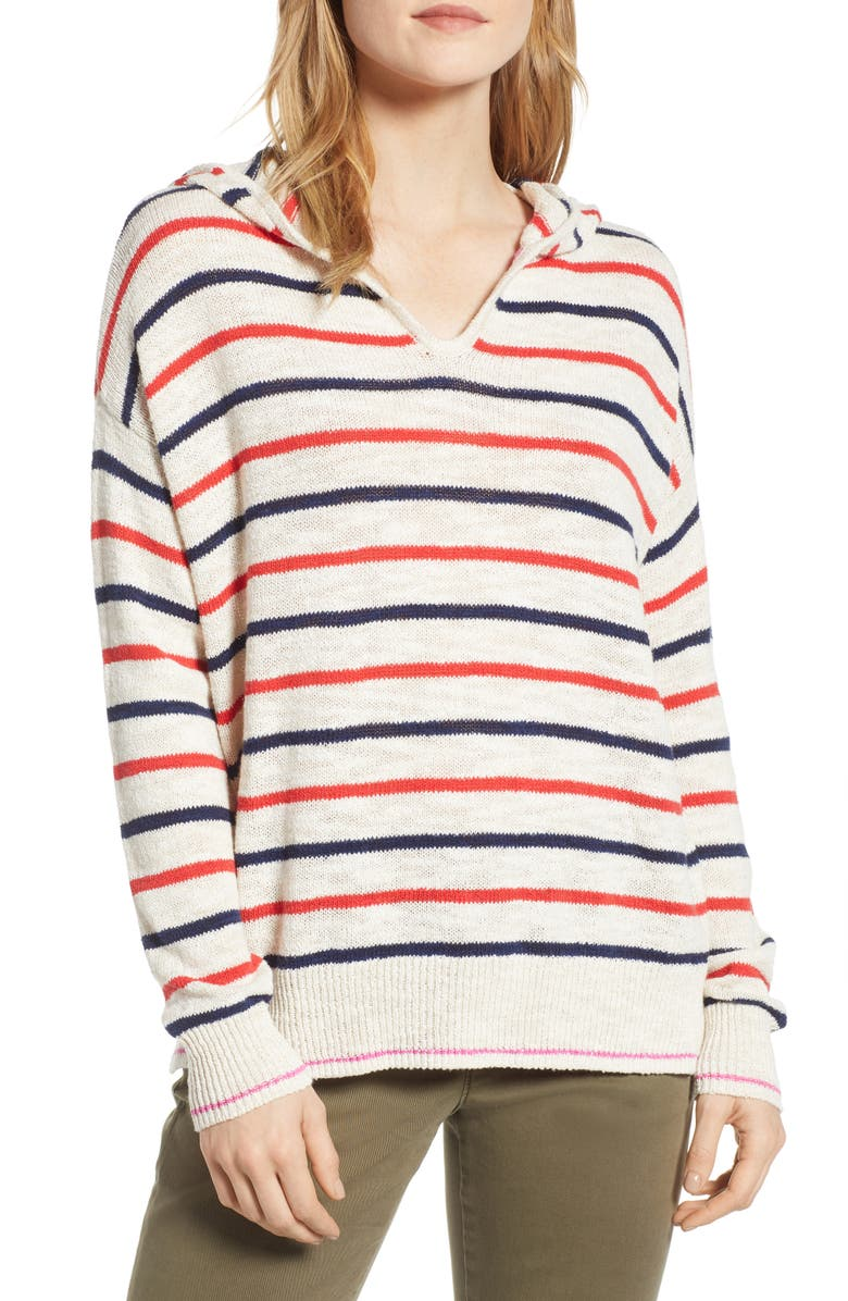LOU & GREY Striped Hoodie Sweater, Main, color, 100